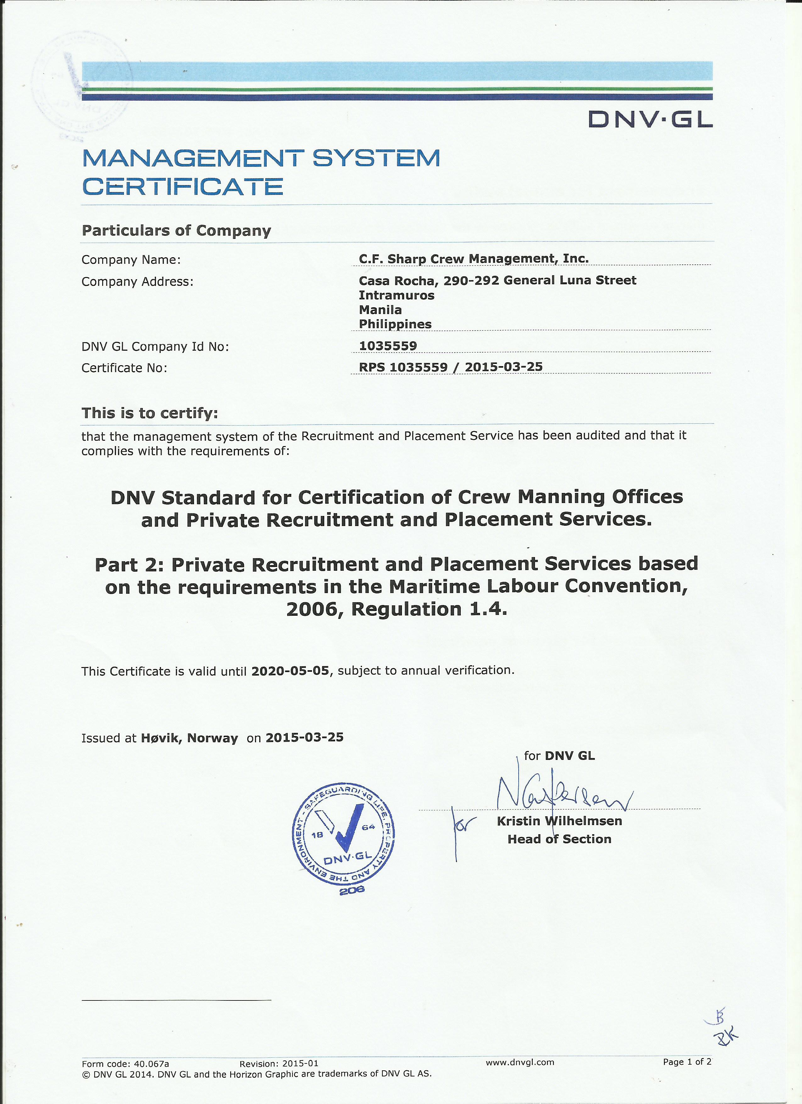 DNV MLC 2006 CERT1